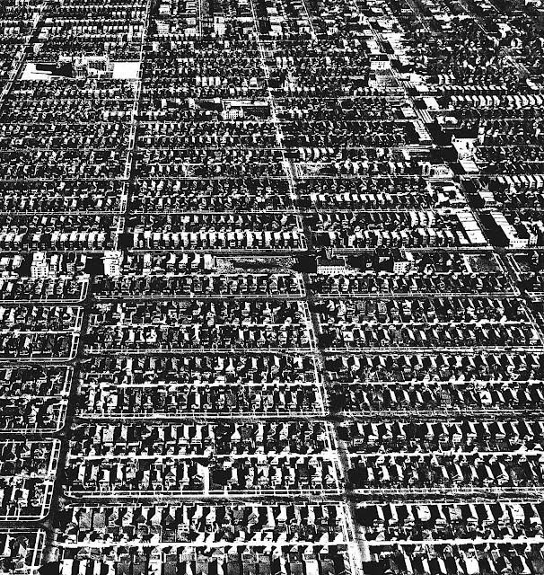 1949 Chicago suburbs from above, photograph