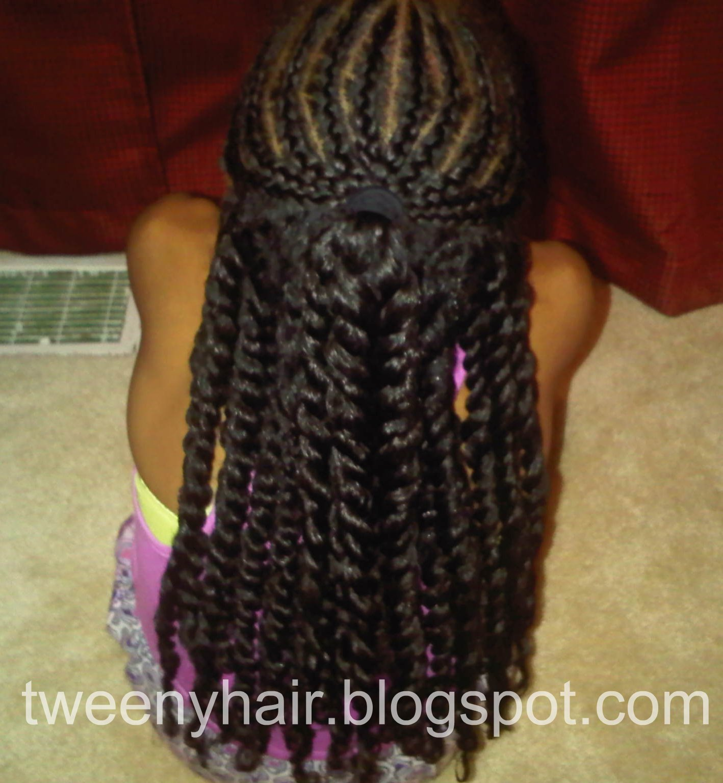 Tweeny Hair: Half Up with Cornrows and Twists