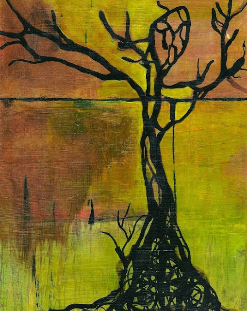 Whoopidooings: Carmen Wing: CollaborART For The Love Of Trees. Acrylic/Drawing Ink.