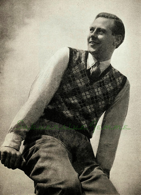 The Vintage Pattern Files Free 1930's Knitting Pattern - Men's Diamond Pullover