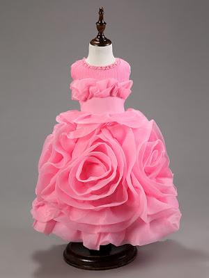 Model Gaun Pesta Anak Berbentuk Bunga Import