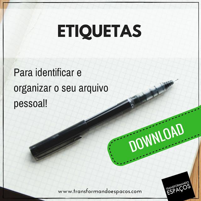Etiquetas para identificar e organizar o  seu Arquivo Pessoal