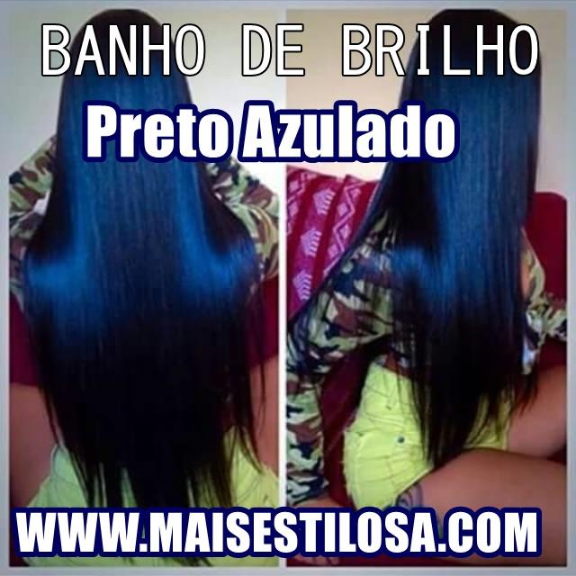 banho de brilho petróleo cabelo preto azulado