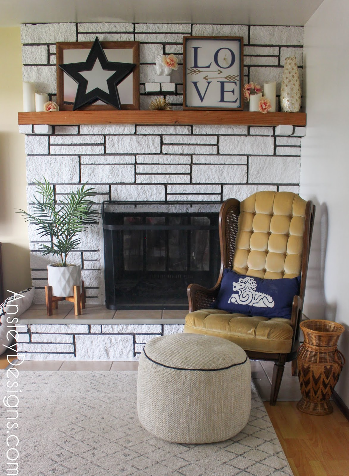 Ansley Designs Fireplace Makeover How To Paint A Stone