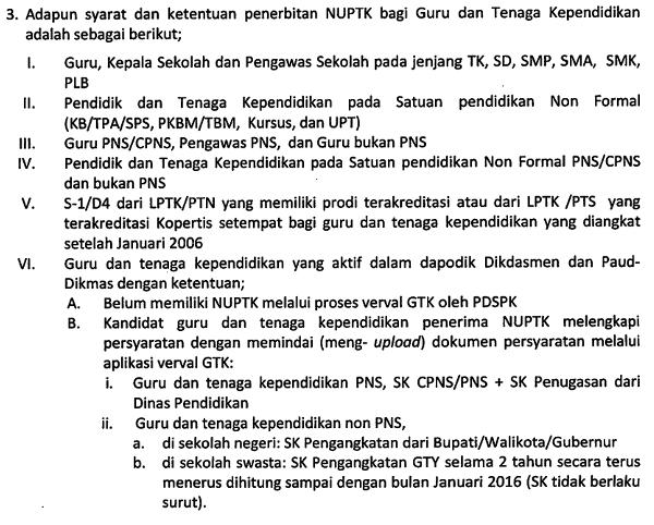 syarat dan ketentuan serta cara penerbitan NUPTK tahun 2016 bagi guru kemdikbud dan kemenag
