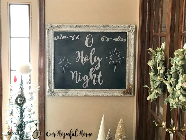 farmhouse christmas chalkboard reverse chalk transfer o holy night star of Bethlehem