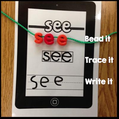alphabet beads, sight word work, kindergarten sight words