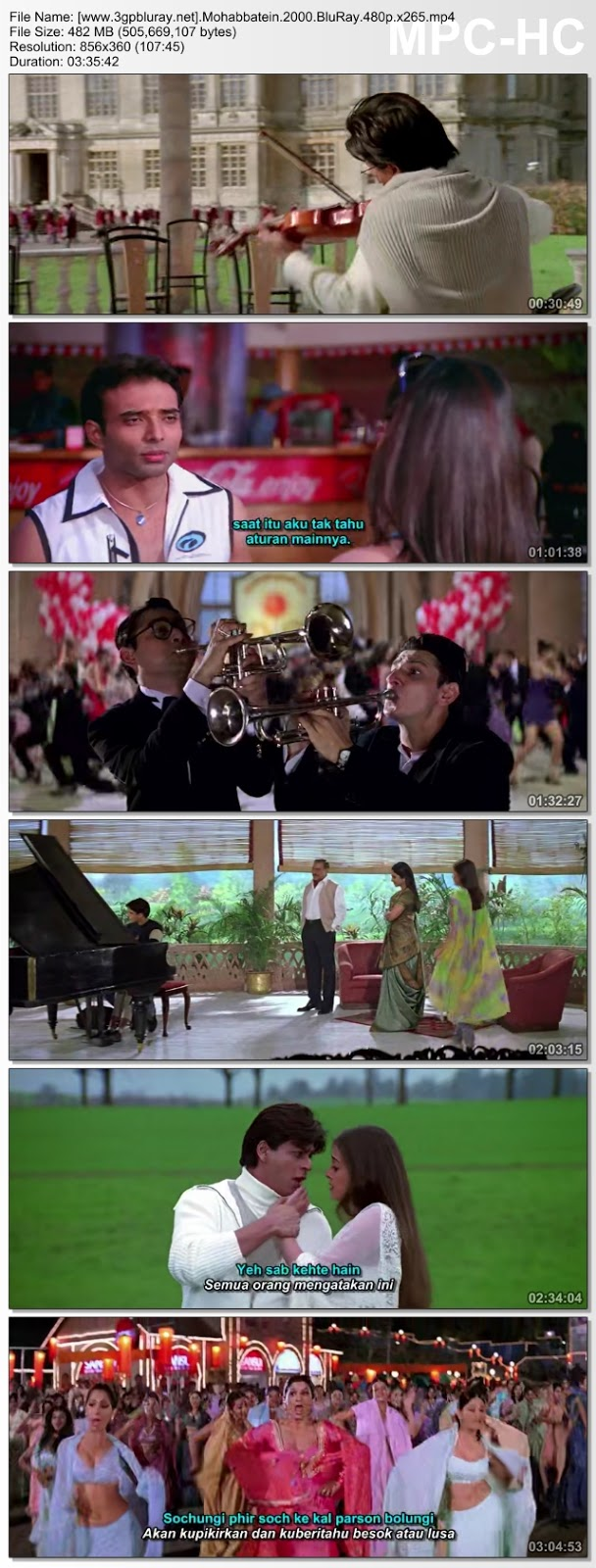 Screenshots Download Mohabbatein (2000) BluRay 480p & 3GP Subtitle Indonesia