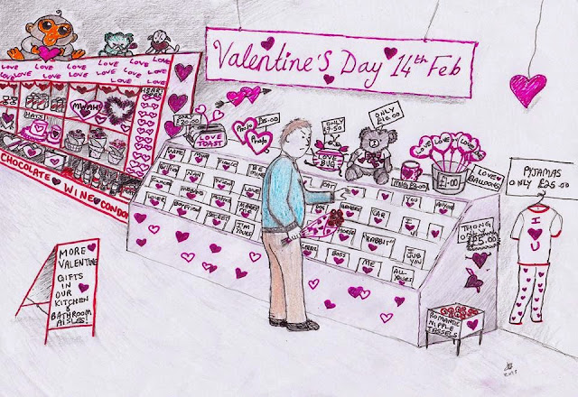Sketch of man surrounded by Generic Valentine's gifts in supermarket, looking confused.