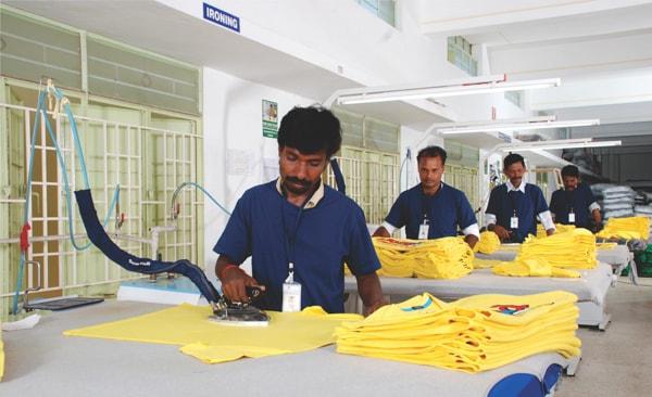 Garment pressing in apparel industry