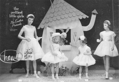 Four little girls in Easter dresses for Hess Brothers 1955 The Easter Parade Girls' Dresses Ad
