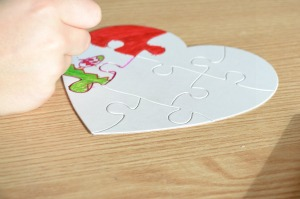 Heart shaped jigsaw puzzles from yellow moon @ ups and downs, smiles and frowns
