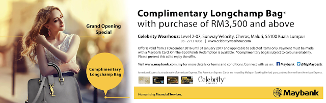 Maybank Complimentary Longchamp Bag Celebrity Wearhouz