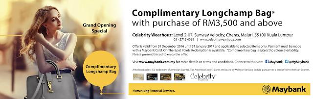 Maybank Complimentary Longchamp Bag Celebrity Wearhouz