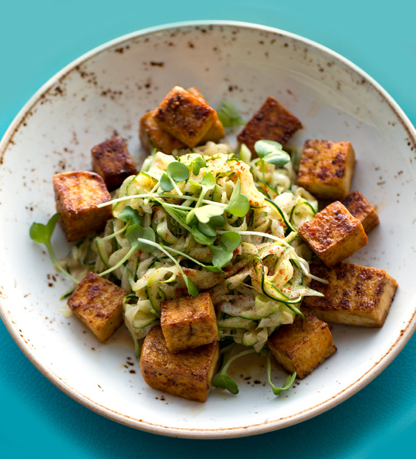 Peanut Zoodles with Crispy Maple Tofu
