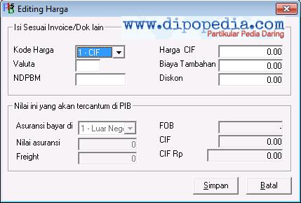 Ilustrasi 3 Pilihan Jenis Kode Harga Pada Pemberitahuan Impor Barang CIF- Dipopedia