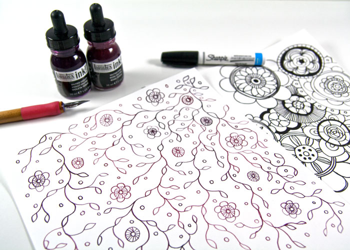 Doodled DIY Patterned Paper by Kim Dellow