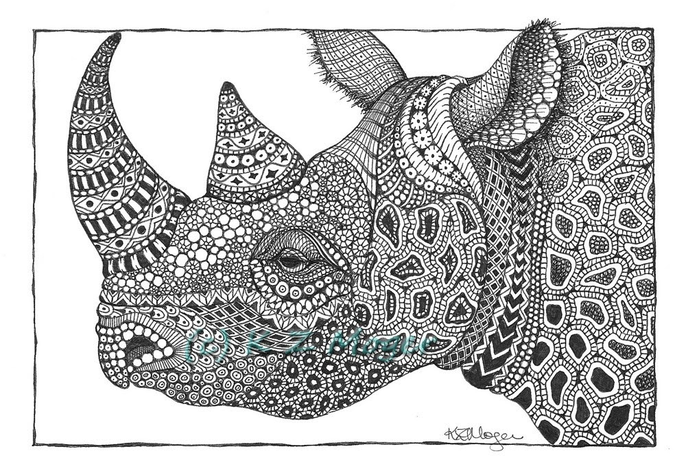 15-Rhino-Kristin-Moger-Animal-Portraits-Dressed-with-Zentangle-Textures-www-designstack-co