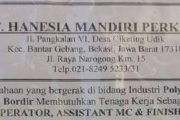 Loker Terbaru Bekasi Operator PT Hanesa Mandiri Perkasa