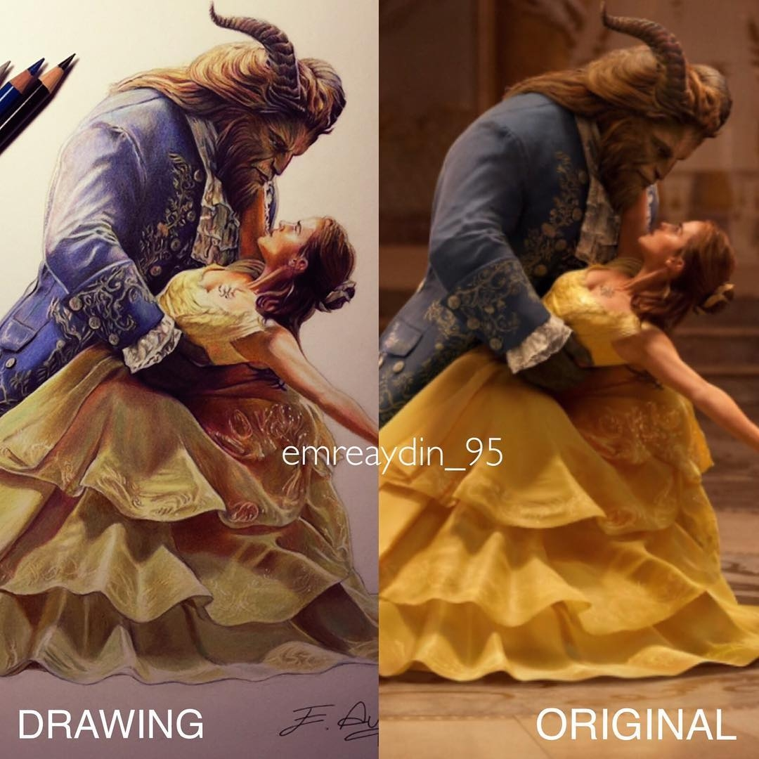 07-Beauty-and-the-beast-Emre-Aydin-Celebrity-Pencil-Drawings-in-Movies-and-TV-www-designstack-co
