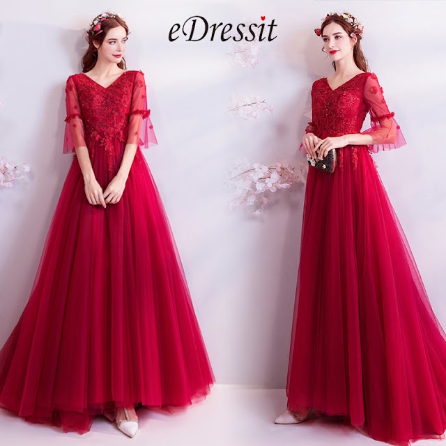 red v cut short sleeves prom dress