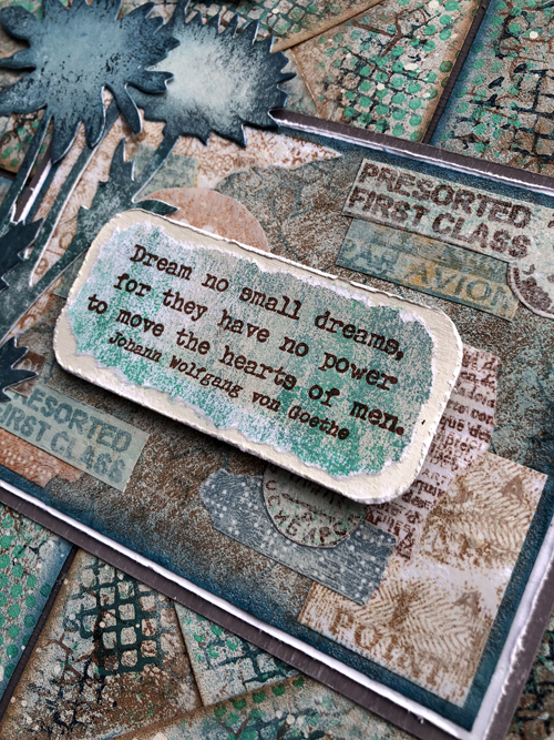 Envelope Art featuring PaperArtsy stamps and paints - with Tim Holtz Large Stems Bigz die.