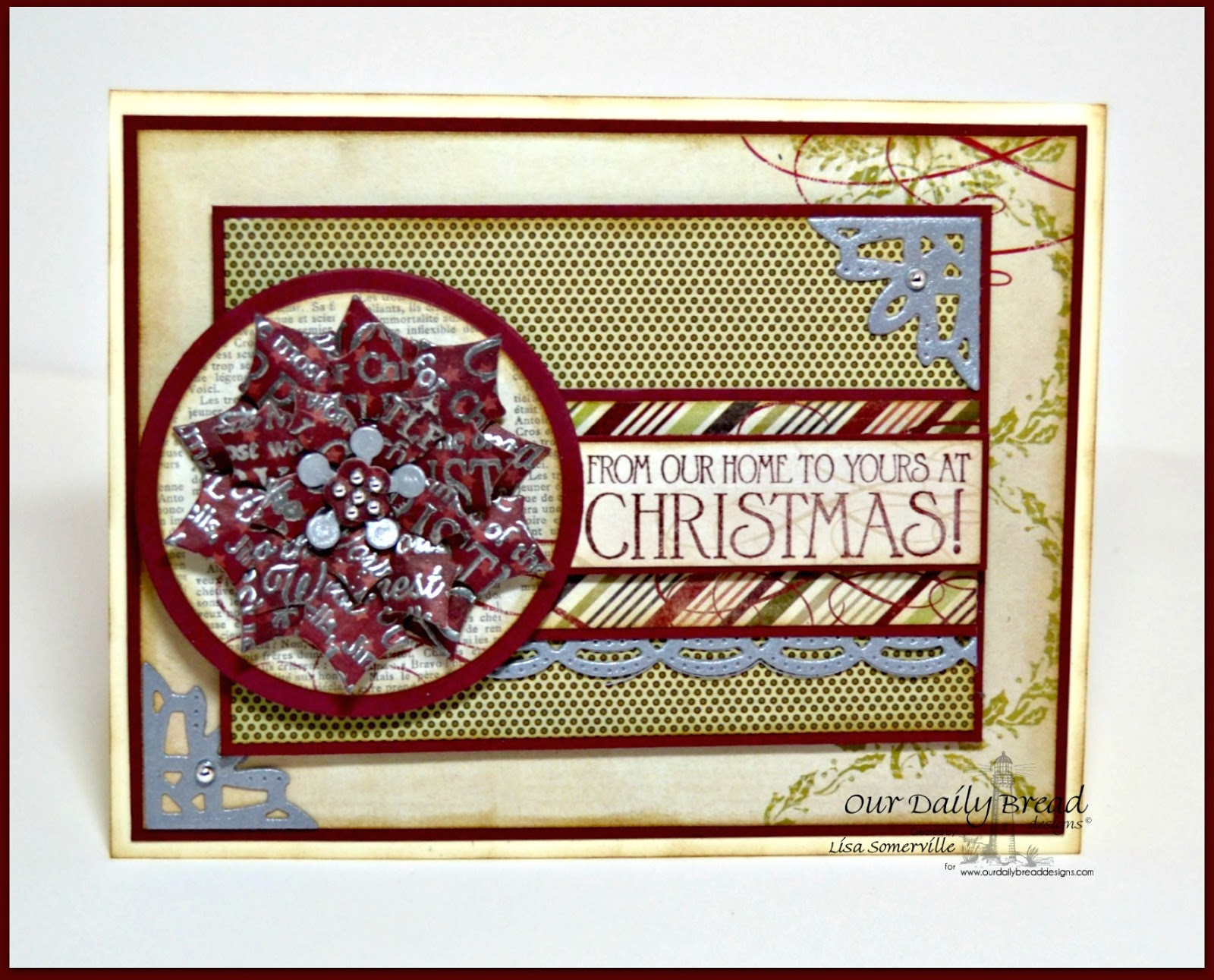 Stamps - Our Daily Bread Designs Noel Ornament, Christmas Door,  ODBD Custom Matting Circles Dies, ODBD Custom Circle Ornaments Dies, ODBD Custom Beautiful Borders Dies, ODBD Custom Peaceful Poinsettias Die, ODBD Custom Ornate Borders and Flower Dies