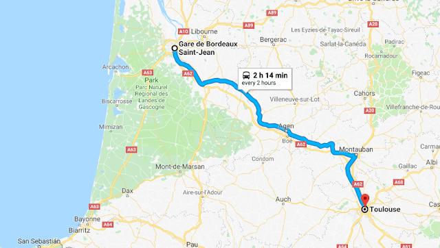 Mapa viagem de trem de Bordeaux a Toulouse