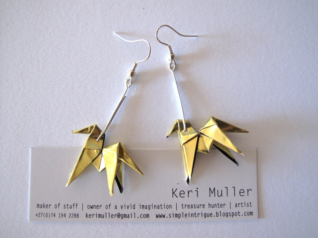 information about home design: Origami Earrings from Gold