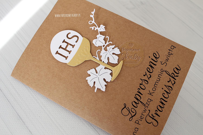 zaproszenie zaproszenia komunia pierwsza komunia święta komunijne handmade rękodzieło scrapbooking ręcznie robione eleganckie delikatne tłoczone kwiaty kwiatowe tłoczenie perłowe białe wstążka hostia kielich kłos złote perłowe eko craft brązowe, Komunia