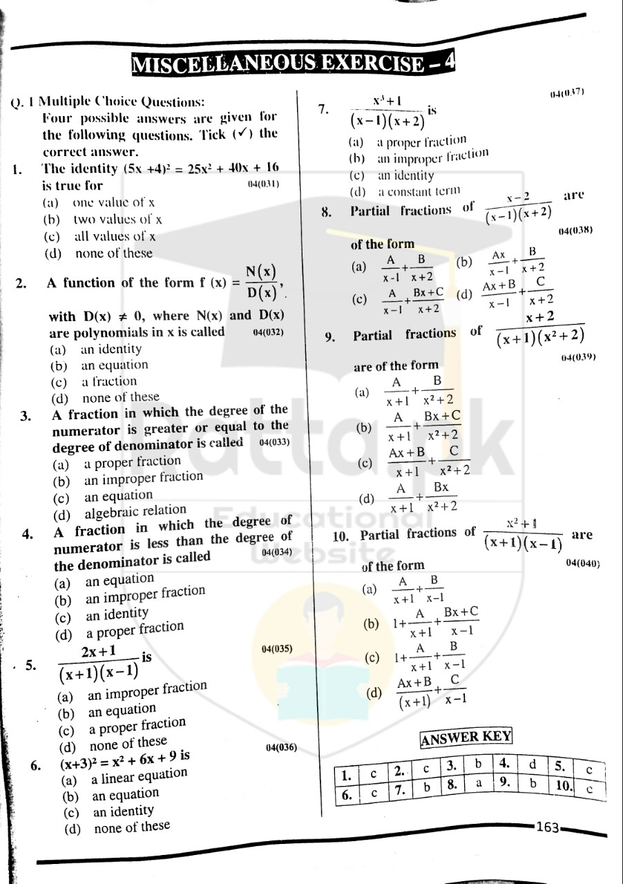 10th Maths Misc. Exercise 4 Solved Obectives 1