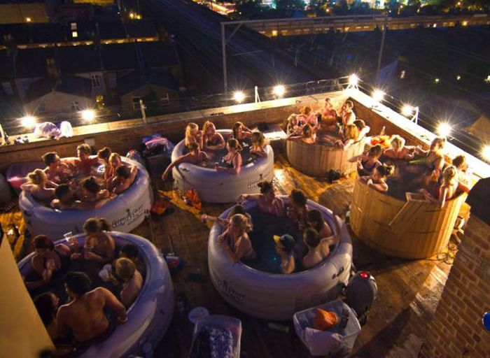 Outdoor Hot Tub Cinema Damn Cool Pictures