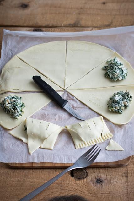 Friands chèvre frais et épinards - Comment faire des friands/chaussons dans une pâte feuilletée ronde?