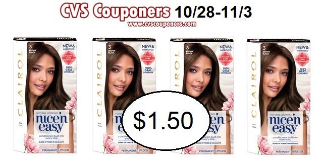 Clairol Nice 'n Easy Hair Color $1.50 at CVS