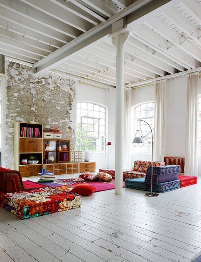 Loft with floor cushions