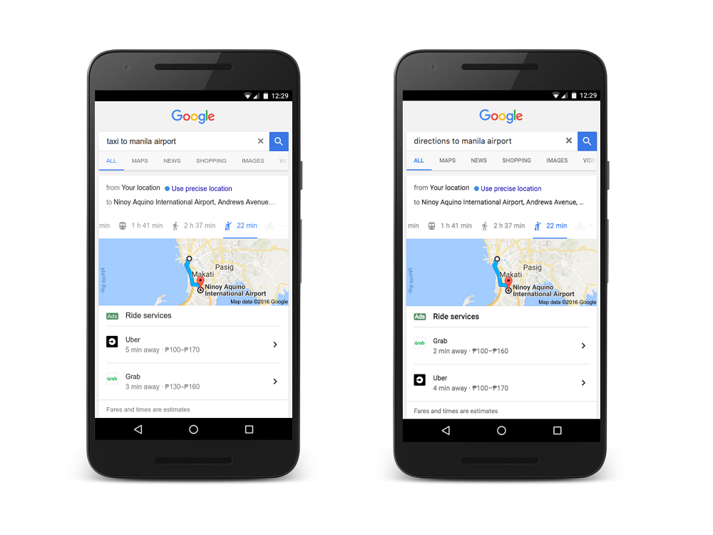 Book an Uber or Grab Straight through Google Search