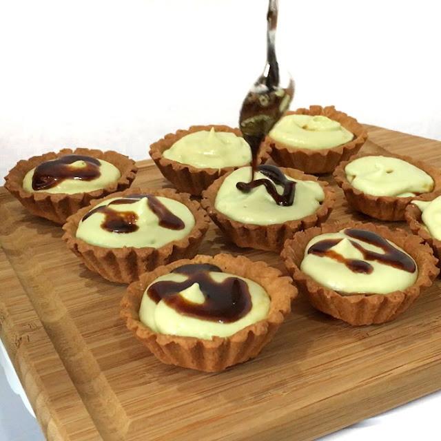 Creamy Avocado Mousse filling in tarts with Gula Melaka Syrup