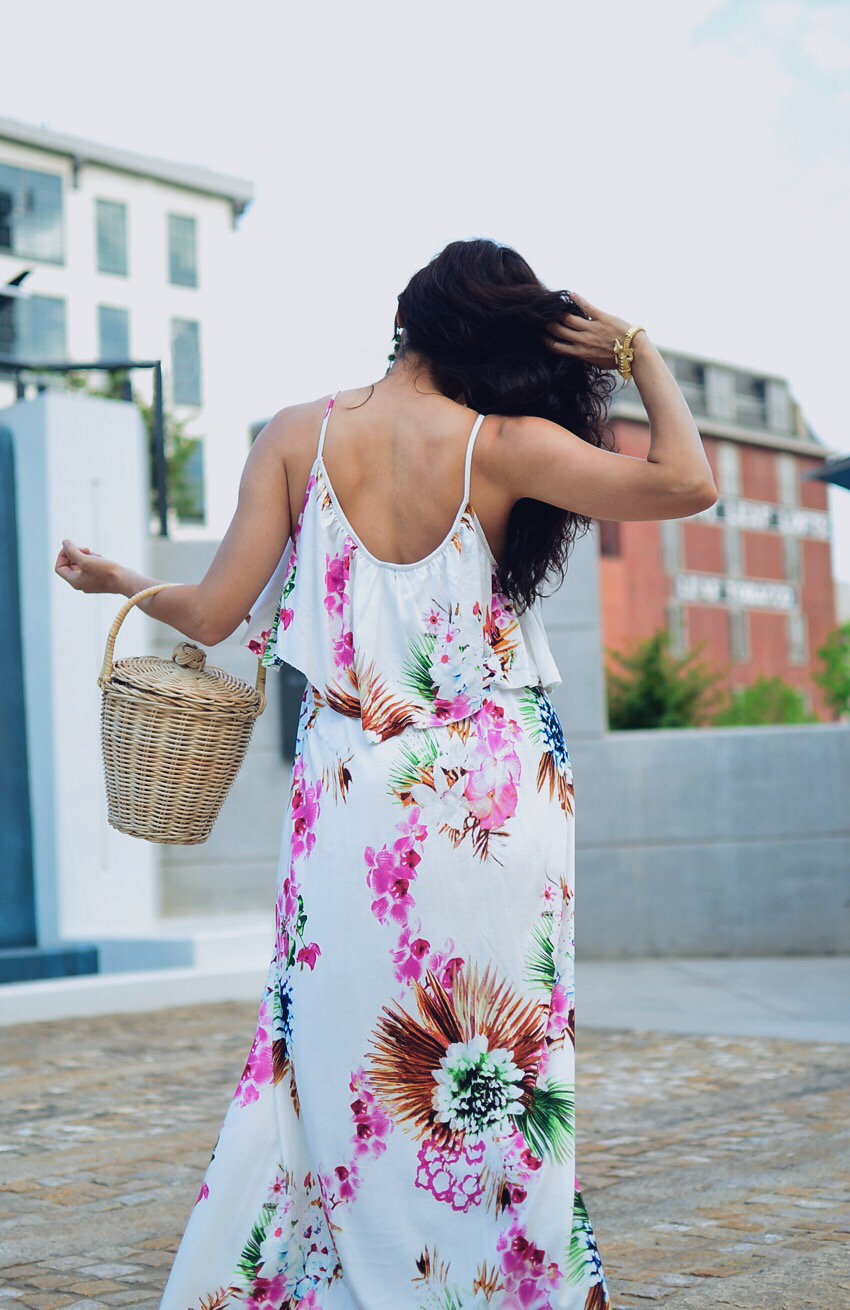 Open back dress street style
