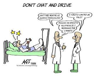 telefonino, smartphone, distrazioni, guidare, umorismo, vignetta, satira