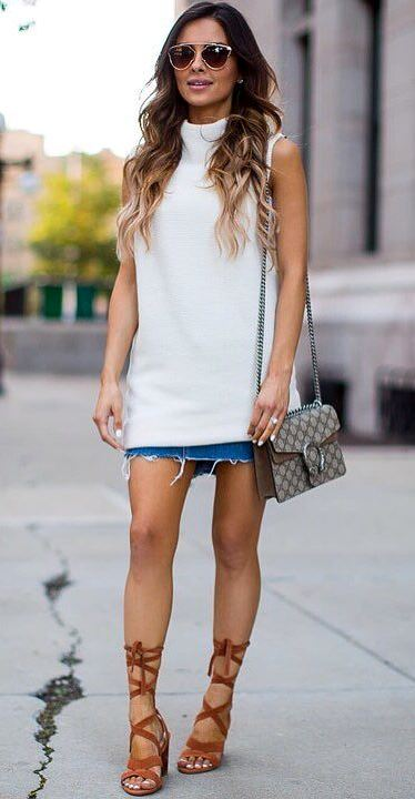fashion trends outfit: top + bag + skirt + heels