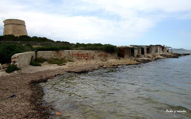cala sa rosa en Ibiza. Parque natural de las Salinas de ibiza y Formentera