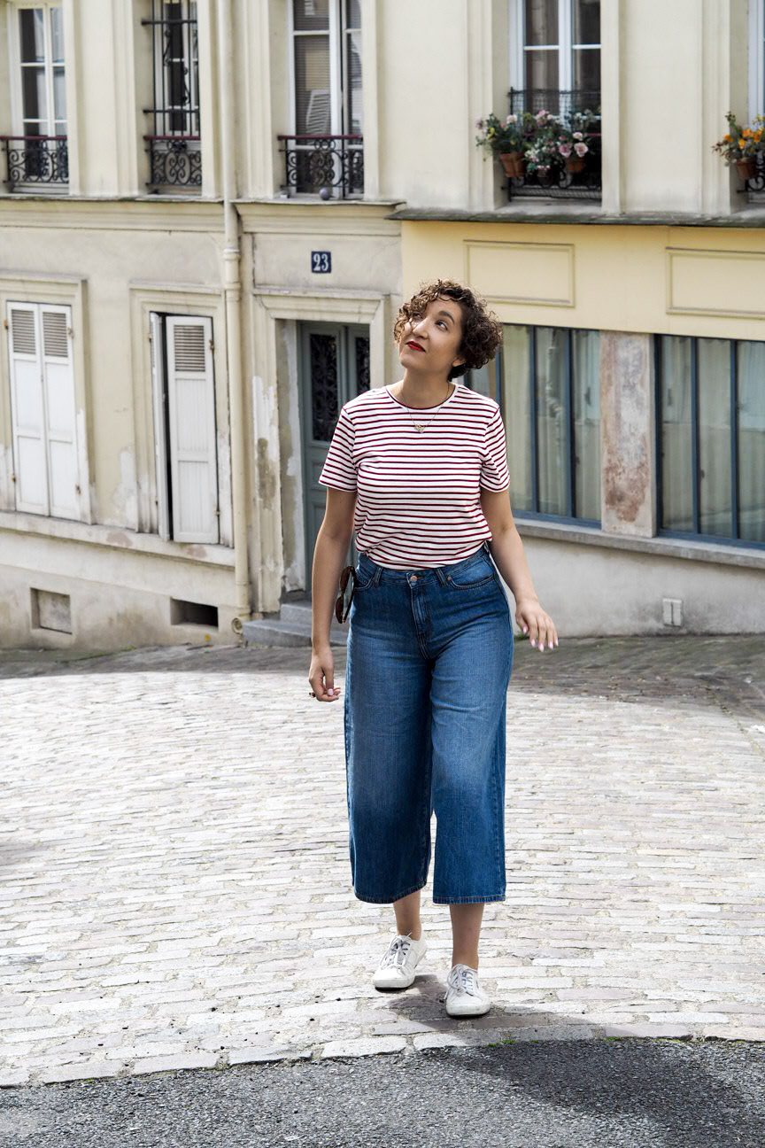 Denim culottes, breton stripe top