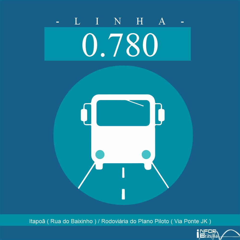 Horário de ônibus e itinerário 0.780 - Itapoã ( Rua do Baixinho ) / Rodoviária do Plano Piloto ( Via Ponte JK )