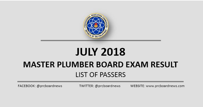 OFFICIAL RESULT: July 2018 Master Plumber board exam passers list