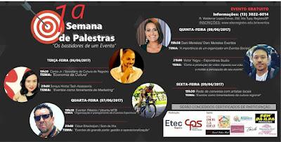 """1ª Semana de Palestras: """"Os bastidores de um Evento"""" na ETEC"""