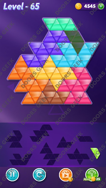 Block! Triangle Puzzle 8 Mania Level 65 Solution, Cheats, Walkthrough for Android, iPhone, iPad and iPod