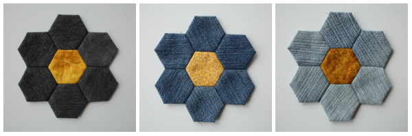 Denim EPP Hexagon Flowers | DevotedQuilter.blogspot.com