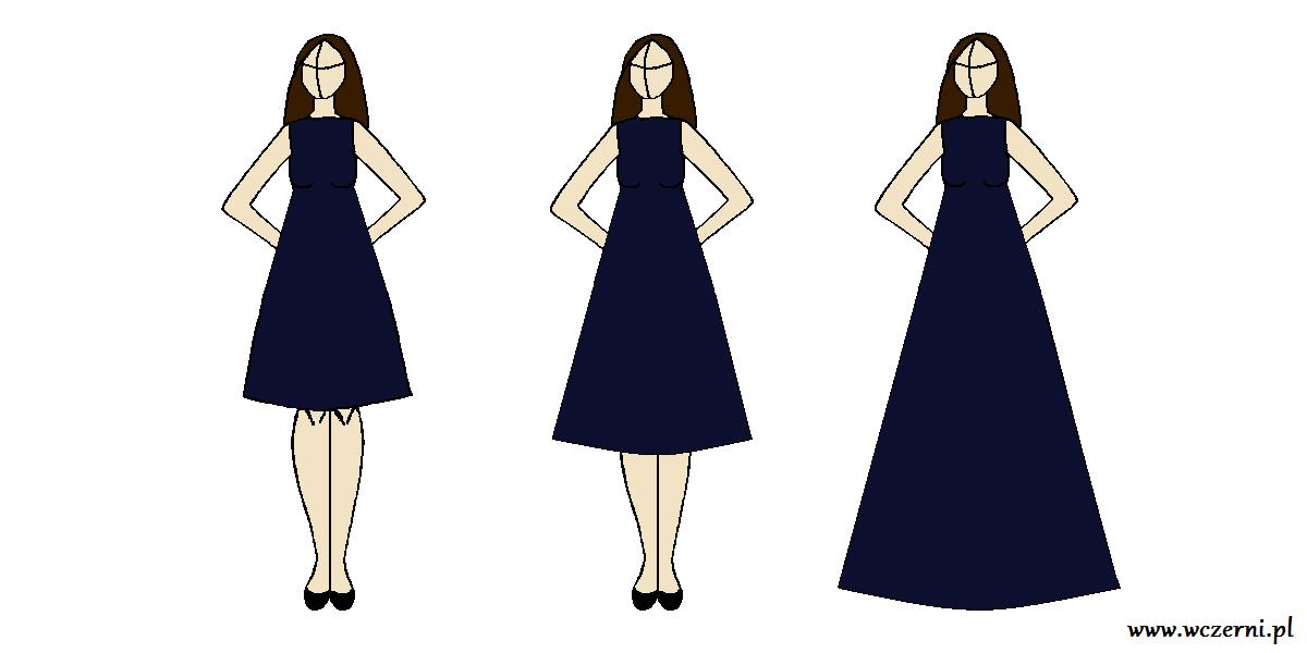 szerokie biodra wyszczuplone za pomocą odpowiednio dobranej długości sukienki