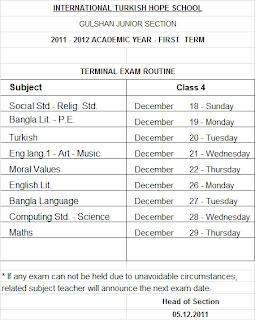 ITHS Gulshan Branch Media (2011-2012): Exam Routine