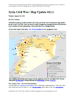 Map of fighting and territorial control in Syria's Civil War (Free Syrian Army rebels, Kurdish groups, Al-Nusra Front, ISIS/ISIL and others), updated to January 28, 2014. Includes recent locations of conflict between ISIS and other rebel groups, including Raqqa, Jarabulus, Manbij, Kafranbel, and others.